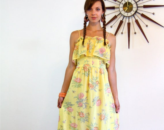 Boho Maxi dress, Vintage 70s Dress, Hippie maxi dress, Tiered Ruffles,Cotton Floral dress,Long Gypsy dress,Yellow Prairie Dress, 1970s dress