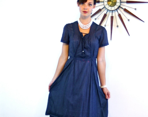 40s day dress, vintage 1940s dress, sheer cotton dress, navy blue dress, polka dot dress, 40s dress, retro housewife, 1940s pintuck dress