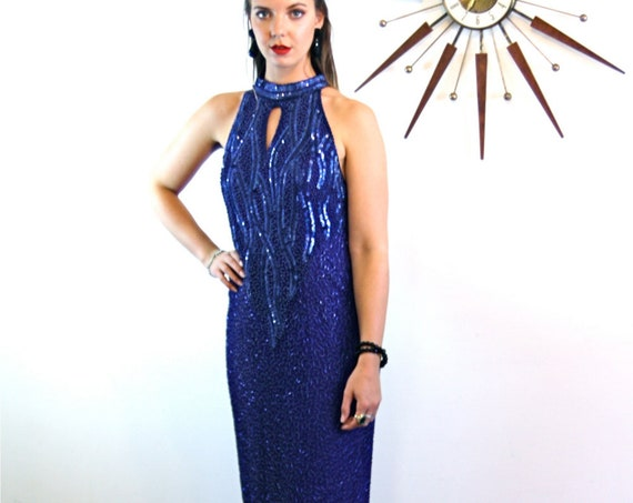 Long Pencil Dress, Beaded Maxi dress, 80s beaded dress, Sexy evening dress, Long cocktail dress,sparkly cobalt blue,Fully Beaded gown, Sz L