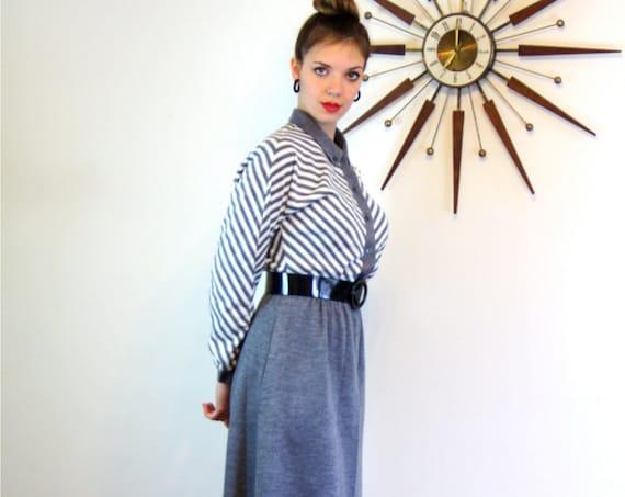 Vintage 60s Sexy Secretary Gray Chevron Stripe Dress 1960s Mad Men Knitwear by Bonnell