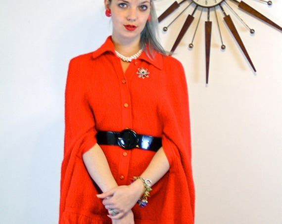 Vintage 60s BRITISH VOGUE Knit Cape Bright Red Crochet Poncho Fringe Buttons Butterfly Collar Arm Slits Mod Retro 1960s Long Sweater Jacket