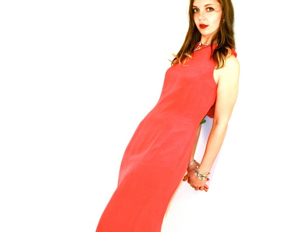 Lady in Red, Sexy Evening Dress, Slinky Red Dress, Red SILK dress, Long Cocktail Dress, Low Draped Back, Slinky Red dress, Long Pencil Dress