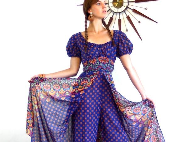 70s Adini Kaftan, Boho Romper, Indian Hippie dress, Gypsy Harem Pants, 1970s Maxi, Split Skirt Onepiece, India block print, Cotton Caftan