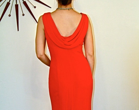 Valentines Day Dress, Red SILK dress, Backless Dress, Sexy Evening Dress, Slinky Red Dress, Long Cocktail Dress, Open back dress