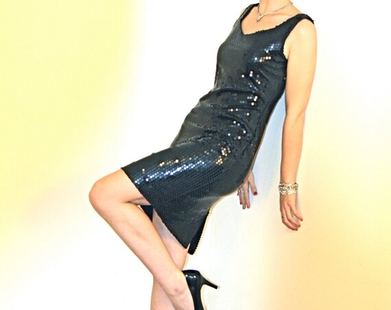 FULL SEQUIN Dress, Black Mini Dress, 80s Pantagis Dress, Cocktail Dress,Pencil dress,Super Tight Fitted,Shiny Slinky Sexy,Short Wiggle Dress