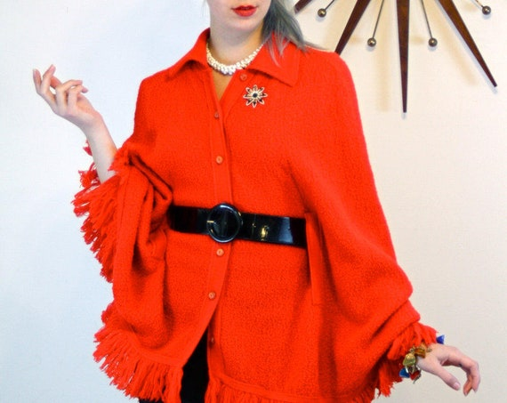 60s Red Poncho Vintage BRITISH VOGUE Knit Cape Retro Fringe Poncho Butterfly Collar Mod 1960s fashion Long Sweater Jacket