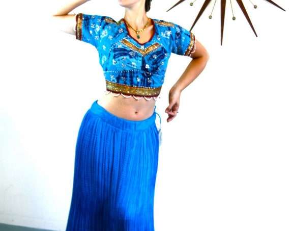 Bright Blue SILK Skirt, Indian Maxi Skirt, Full Boho Skirt, Electric Jewel tone, Ethnic Bohemian, Hippie Belly Dance, Long Ankle length, S M