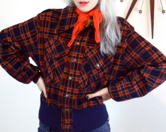 Plaid  Bomber Jacket, Vintage Corduroy jacket, Puffy Jacket, Rockabilly jacket, Navy Blue Red Plaid, Short Coat, Cropped Jacket, Ribbed Cuff