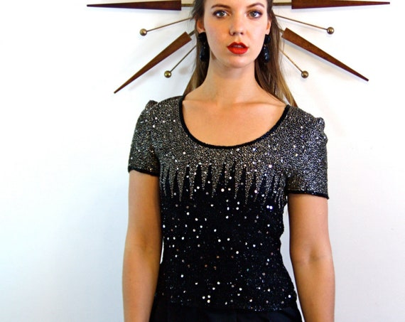 Fully Beaded top, Shiny Disco blouse, Papell Evening, Black & Silver ombre, Sparkly Glass Beads, Metallic vintage top, Heavy beading, Size S
