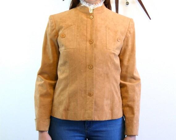 Vintage 60s jacket, Designer Mollie Parnis, Tan Ultra Suede Jacket, Soft Light Brown Faux Leather, 1960s Womens Short Cropped Vegan jacket