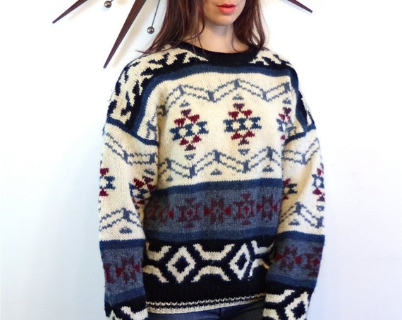 Cable Knit sweater, Nordic print Jumper, 70s 80s wool sweater, Big wool Pullover, Shetland wool, vintage ski sweater, Ethnic print sweater