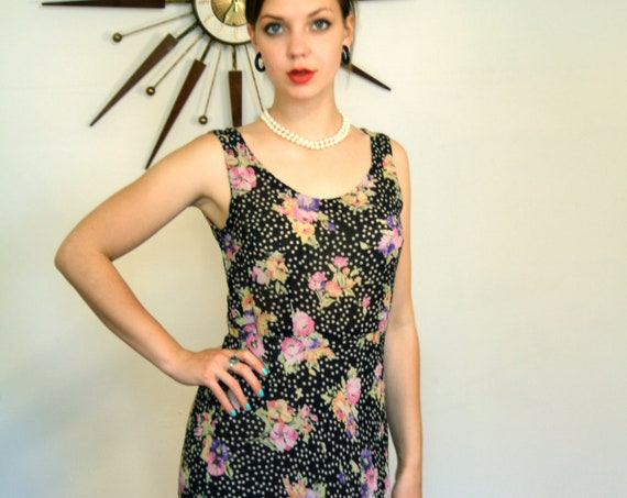 Silk Floral Dress, Silk crepe dress, silk flutter dress, bias cut dress, Black & White, Polka Dots flowers, Sleeveless dress, floral dress