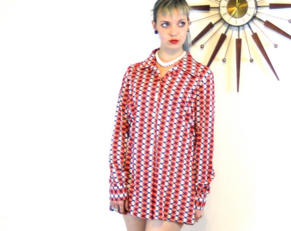 Vintage 1960s blouse, 60s geometric shirt, Big butterfly collar, Long sleeve top, red white & blue, Womens button down, Patty's of Texas, L