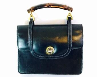 Authentic Gucci bag, Vintage Gucci bag, 50s Black Gucci Bag, Bamboo Gucci bag, 60s Gucci bag, 50s Gucci purse,Gucci handbag,Gucci pocketbook