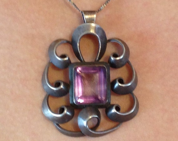 Large Amethyst pendant, Art Nouveau pendant, 30s Antique jewelry, Swirling Deco design, Big Statement piece, Gift for wife, Sterling Silver