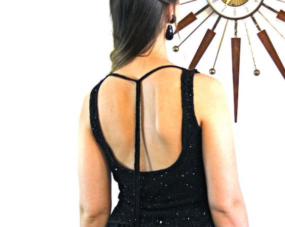 Fully beaded blouse, vintage 80s top, spaghetti straps, tie back, backless blouse, black glass beads, beaded STENAY top, black beaded top