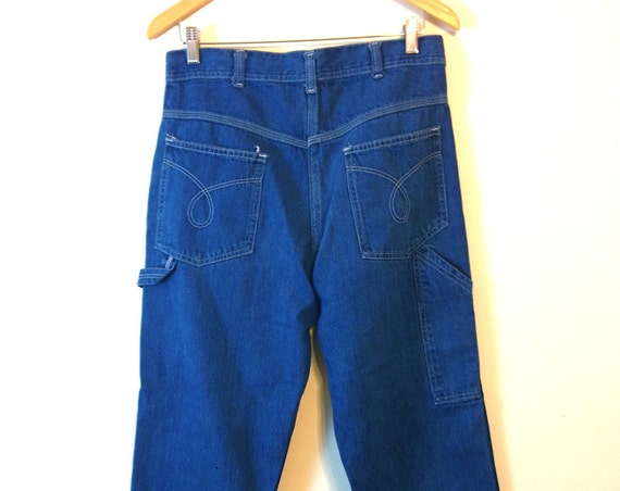 90s Carpenter Jeans, Vintage Lee jeans, High rise Mom Jeans, High Waisted, Denim Carpenter Pants, Medium Wash Denim, 1990s baggy jeans, W32