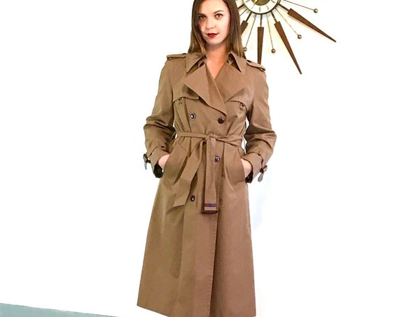 Trench Coat, Etiene Aigner Trench, Vintage 70s Trench, Womens Trench, 1970s Trench Coat, Chestnut Brown trench,Khaki trench, Ladies Raincoat