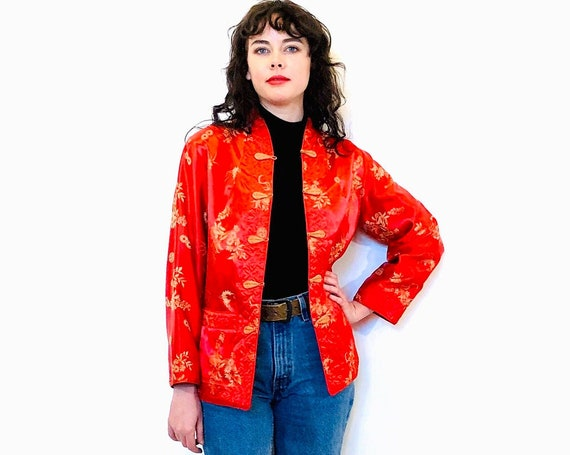 Vintage 1970s Chinese jacket, Reversible Quilted Silk Jacket, Embroidered Red or Plum, Jacket with frogs from China, Red silk jacket