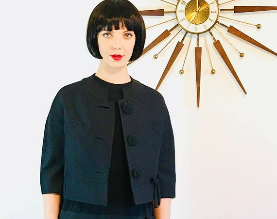 Vintage 1950s Jacket, 50s cropped jacket, Black 50s jacket,Waist length jacket, 50s Short Coat,50s Womens Jacket,50s crop jacket, 3/4 sleeve