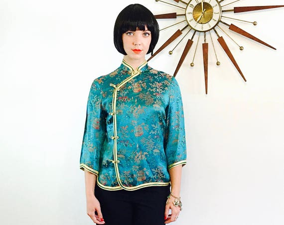 60s Chinese jacket Teal Satin jacket Vintage Peony Shanghai 1960s Cheongsam Turquoise Green jacket Embossed Satin Jacket Mandarin Collar