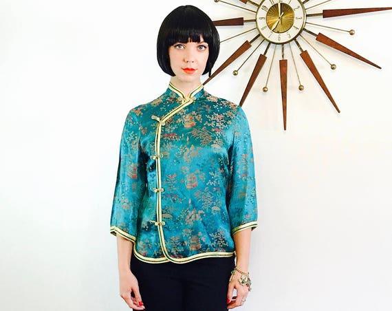 60s Chinese jacket, Teal Satin jacket, Vintage Peony Shanghai, 60s Cheongsam, Turquoise Green jacket, Embossed Satin Jacket, Mandarin Collar
