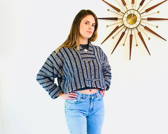 Girls 80s Baja Joe poncho, Cropped drug rug, Mexican beach sweater,Striped Blanket Jumper, Mexico Surf Serape,Vintage Hoodie,Hooded Crop Top