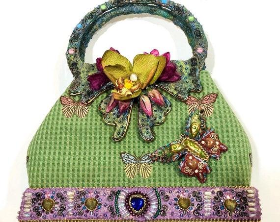 Designer Mary Frances 3D butterfly handbag, cute top handle orchid purse, green purple pink embellished pocketbook, embroidered designer bag