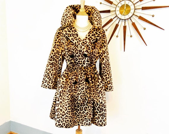 60 Leopard Coat, Vintage Cheetah Coat, Belted Leopard print swing coat, Animal print coat with belt, Women's Faux Fur Coat, 1960s clothing