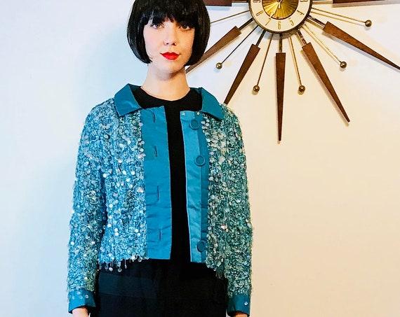 Fully beaded jacket, Vintage 60s jacket, Fancy Evening Jacket, Bright Aqua blue, 1960s short jacket, Beading Silk fringe, 50s cropped jacket