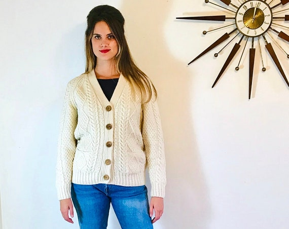 Vintage 60s Irish Wool Fisherman's Sweater Cream Cable Knit Aran Cardigan Wooden Button Ivory Hand Knit 1960s Jumper Made in Ireland