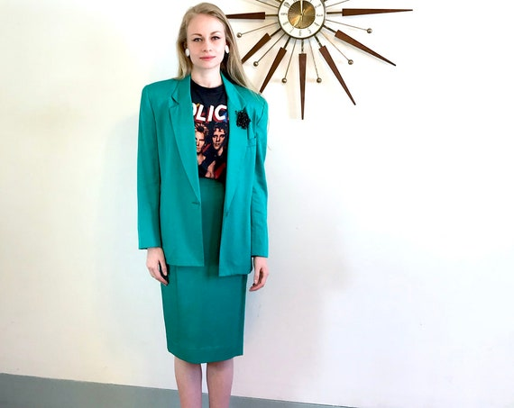1980s two 2 piece suit, womens jacket & pencil skirt, vintage 80s ladies set, teal green wool outfit, boxy oversized blazer shoulder pad top