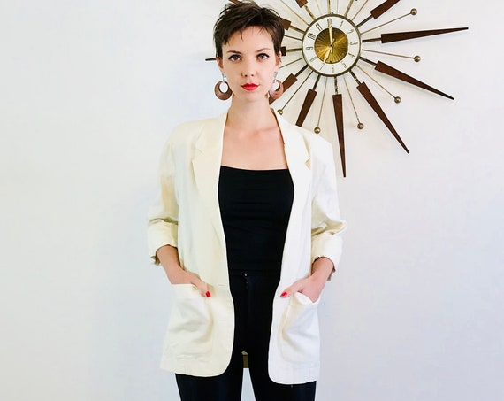Boxy 90s blazer, Ivory linen jacket, Long Womens Blazer, Off White cream jacket, 80s ladies blazer, boxy 90s jacket, Sz M