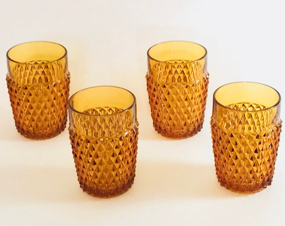 Retro Barware, Set of 4 Amber glasses, Diamond Point Cut, Gold Crystal tumbler, 60s Cocktail Party, 70s Indiana Pineapple Glass, Bar gift