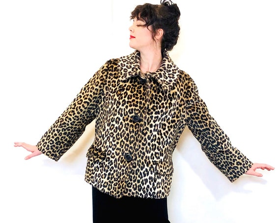 50s Leopard Print Coat, Kilimanjaro by Sidney Blumenthal, Vintage 1950s Leopard Coat, Faux Fur Jacket, 60s Cheetah coat, Womens coat
