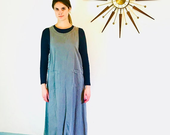 90s Sack Dress, Gray Sheath Dress, Vintage baggy Smock Maxi dress NORDSTROM Simple Straight Boxy Sleeveless Long Column Tank Dress Tencel, M