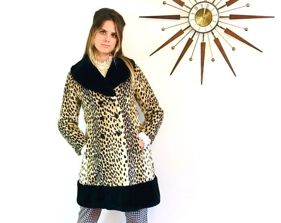 60s Cheetah Coat with black Fur trim, Vintage Mod Leopard Coat, Faux Fur Animal print jacket, 1960s womens coat, Princess cut coat