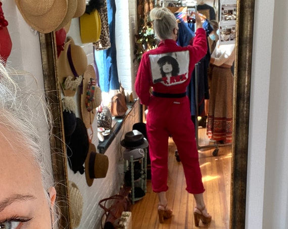 Vintage 70s Red Coveralls with T. Rex t-shirt Patch, Unisex 100% cotton Walls brand long sleeve jumpsuit, Marc Bolan band tee, Size 36 Small