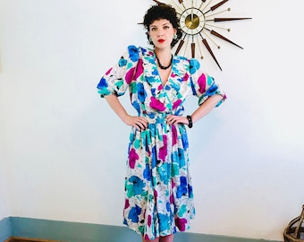 80s floral dress, DIANE FREIS Dress, White Teal Pink, Vintage 1980s dress, Bright Colorful, Ruffle Puff Sleeve, Gypsy Boho Hippie, Georgette