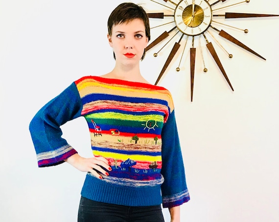 Bell Sleeve Sweater, Vintage 70s Pullover, Bright Hippie sweater, Embroidered Boho Jumper, Rainbow knit top, Smiley Face Sun, 1970s knitwear