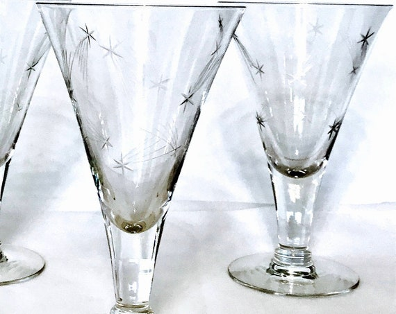 Atomic 1950s Barware, Starburst glasses, SET of 2 TWO, 50s Etched Glass, Vintage 60s stemware,Retro 1960s Mid-Century Cocktail