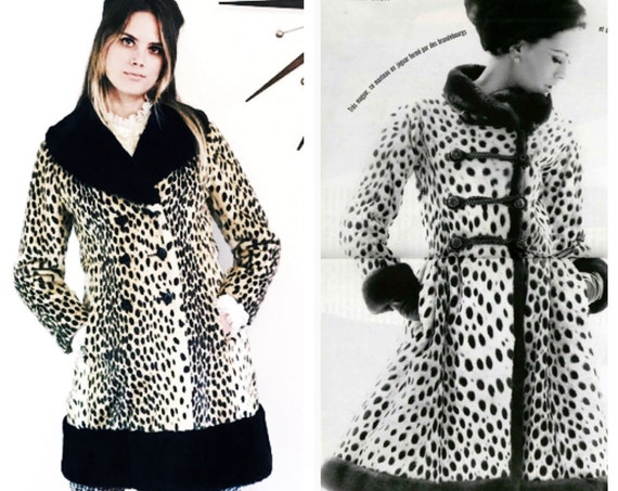 Leopard coat, 60s Cheetah Coat, Black Fur trim, Vintage Mod Coat, Faux Fur Animal print jacket, 1960s womens coat