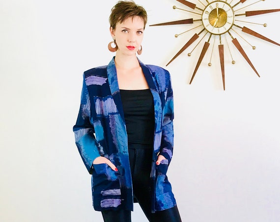 Vintage 80s blazer, Abstract print jacket, Kensington Square, Water color fabric, Blue Purple Black, Ladies blazer, boxy oversized jacket, M