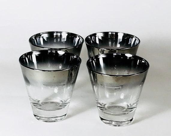 Dorothy Thorpe glass, Set of 4 tumblers, 1950s glass set, whiskey rocks glasses, retro lowball, silver rim glasses, 50s barware, mid century