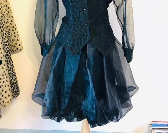 Vintage 80s Puffy Skirt, Black chiffon skirt, 1980s Balloon Skirt, Fancy Party Skirt, Boxy 80s tulip skirt, New Wave 80s ladies