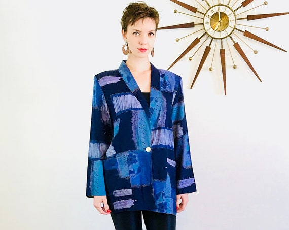 Vintage 80s 90s blazer, Abstract print jacket, Kensington Square, Watercolor fabric, Blue Purple Black, Ladies blazer, boxy oversized jacket