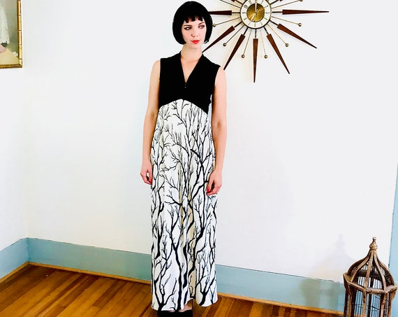 70s Maxi Dress, Evelyn Pearson, Black & white dress, Birch tree print, Vintage 1970s maxi,Cocktail Hostess, Lounging apparel, Long 60s dress