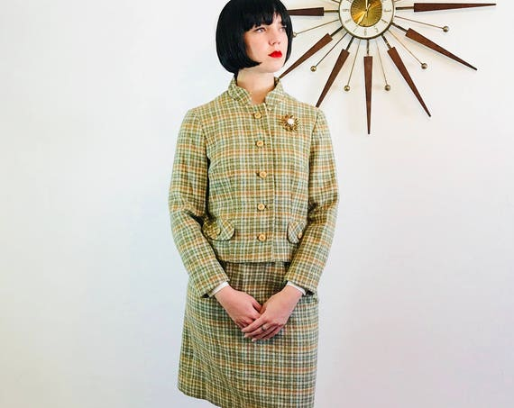 Vintage 60s suit, Plaid 2 piece suit, wool Jacket Skirt Set, Green Orange plaid, 50s plaid jacket, 60s plaid mini skirt, 1960s Womens suit