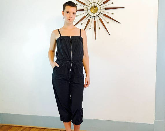 Black Cotton Romper, 90s baggy jumpsuit, Sleeveless Black Onepiece, Sexy spaghetti strap outfit, cropped capri pants, Women's 8 M