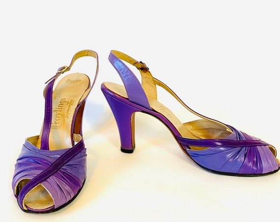 60s Troylings purple leather pumps, 1960s High Heel slingbacks, MOD womens strappy sandals, Bright colorful 60s heels, Size 8 1/2